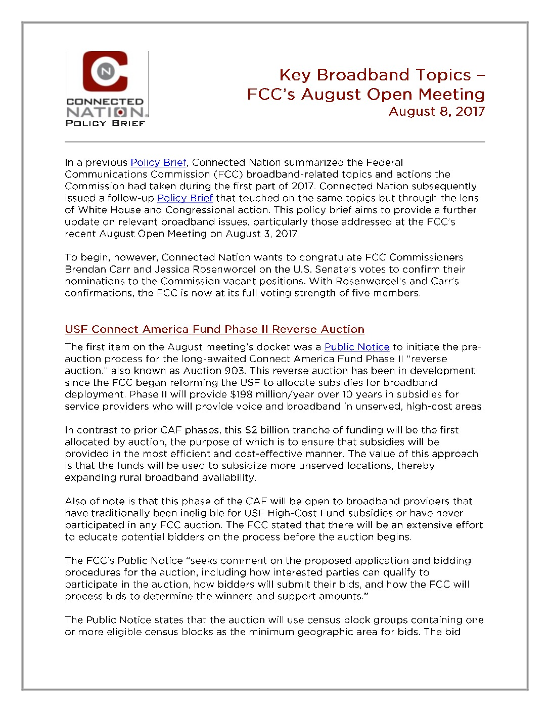 FCC's Open August Meeting